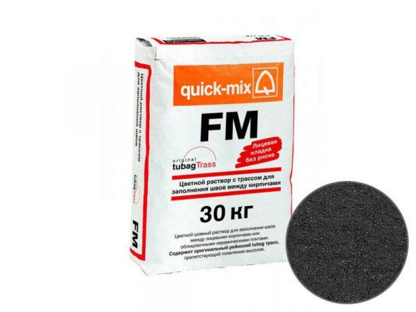 Цветная затирка для заполнения швов на фасаде quick-mix FM H, графитово-чёрный