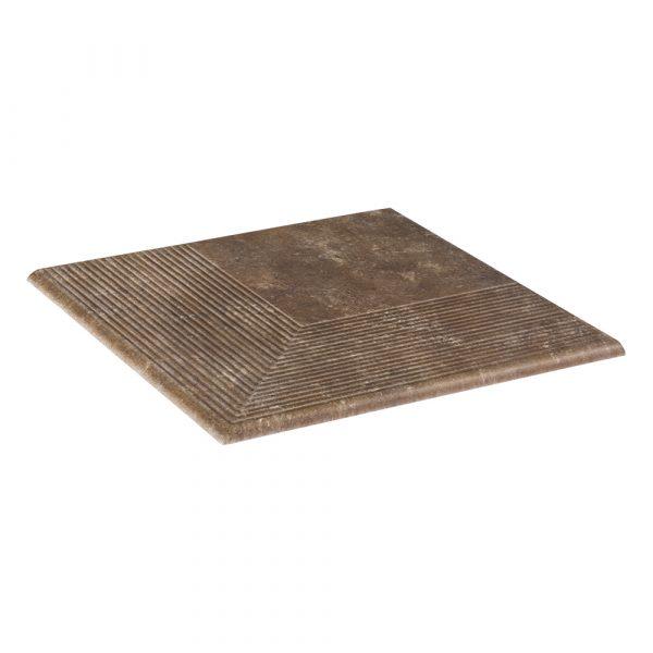 Угловая клинкерная ступень простая Paradyz Ilario Brown, 300*300*11 мм