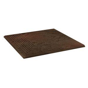 Угловая клинкерная ступень простая Paradyz Semir Brown, 300*300*11 мм
