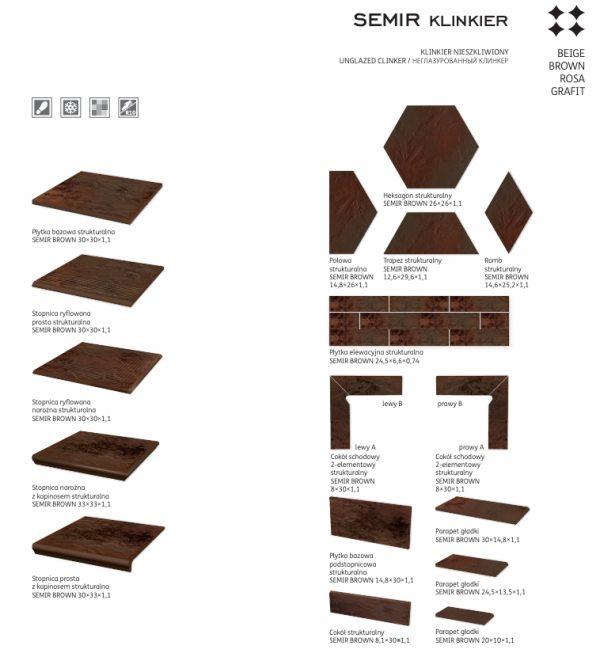 Подступенник структурный Paradyz Semir Brown, 300*148*11 мм