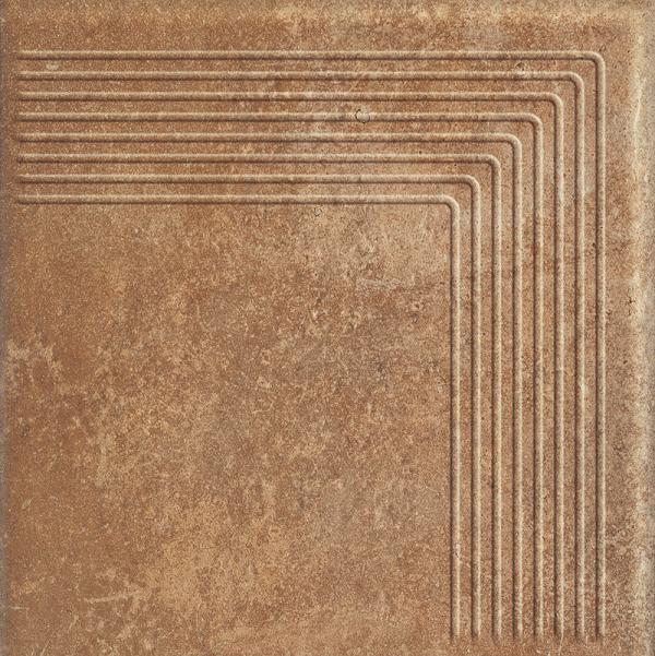 Угловая клинкерная ступень простая Paradyz Scandiano Rosso, 300*300*11 мм