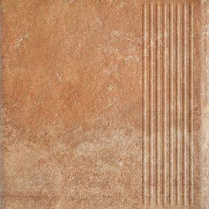 Фронтальная клинкерная ступень простая Paradyz Scandiano Rosso, 300*300*11 мм