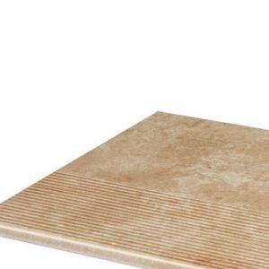 Фронтальная клинкерная ступень простая Paradyz Ilario Beige, 300*300*11 мм