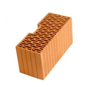 Угловой керамический блок Porotherm PTH 44R, М100, 440x185x219 мм