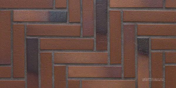 Тротуарная клинкерная плитка Stroeher 124 braun-blau, 240х52х18 мм
