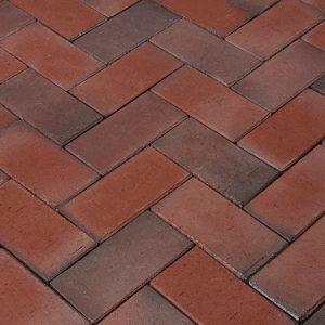 Тротуарная клинкерная брусчатка Penter Balkum rotblaubunt geflammt, 240*118*52 мм