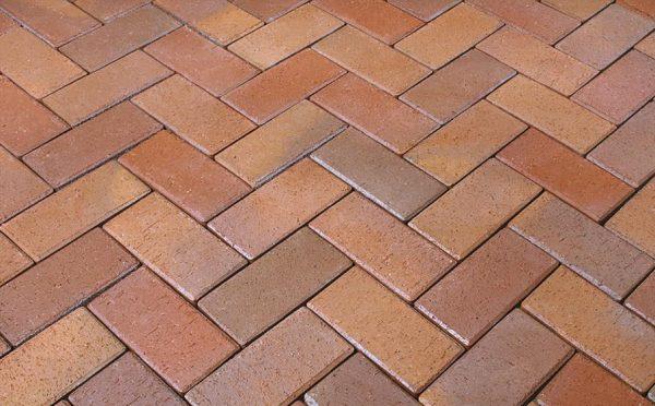 Тротуарная клинкерная брусчатка Penter Florenz bunt orangegelb geflammt, 200*100*52 мм