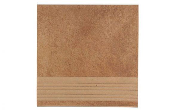 Клинкерная плитка для ступени с насечкой Stroeher Euramic Cadra E523 cotto 300x294x8 мм