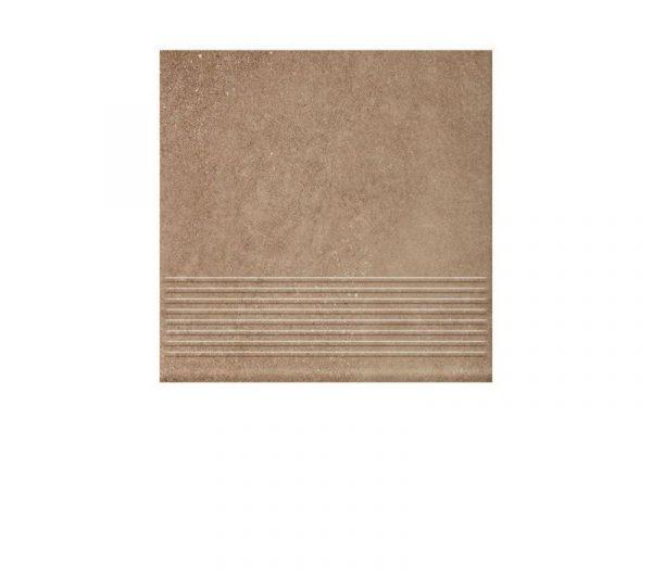 Фронтальная клинкерная ступень простая Paradyz Mattone Sabbia Brown, 300*300*11 мм